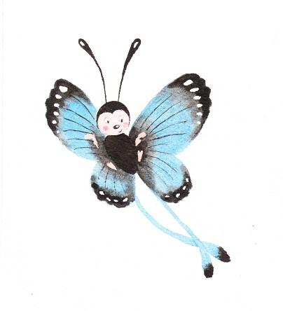 Petit papillon bleu R