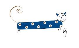 aquarelle-laly-chat-long-bleu-tapisse-fleurs-blanches-avec-dorure